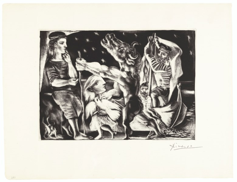 Pablo Picasso (1881-1973), Minotaure aveugle guidé par une Fillette dans la Nuit from La Suite Vollard, executed from 1930-1937.The rare complete set of 100 etchings, aquatints and drypoints, on Montval laid paper. This set is from the edition of 50 with wider margins (there was also an edition of 260 with narrow margins). Each sheet size circa 19¾ x 15⅛ in (50 x 38.5