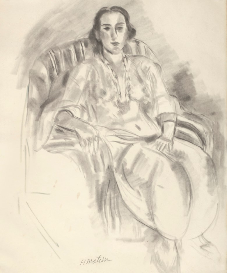 Henri Matisse (1869-1954), Etude au fauteuil rayé, 1923. 21⅝ x 17¾  in (54.9 x 45  cm). Estimate $300,000-500,000. Offered in Impressionist and Modern Art Works on Paper on 12 November 2019 at Christie's in New York