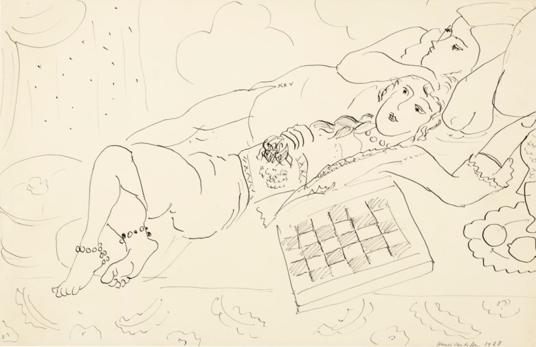 Henri Matisse (1869-1954), Deux odalisques, 1928. 13 x 20  in (33 x 50.8  cm). Estimate $100,000-150,000. Offered in Impressionist and Modern Art Works on Paper on 12 November 2019 at Christie's in New York