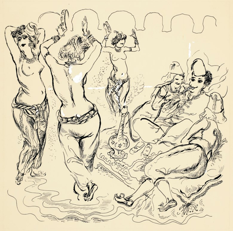 George Grosz (1893-1959), The Bums Rush for Allah, executed in 1941. 22 ½ x 18⅞  in (57.1 x 48  cm). Estimate $15,000-25,000. Offered in Impressionist and Modern Art Works on Paper on 12 November 2019 at Christie's in New York