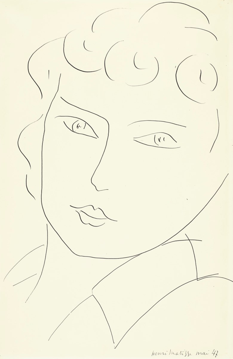 Henri Matisse (1869-1954), Tête de femme (recto and verso), 1947. 19⅝ x 13  in (49.9 x 33  cm). Estimate $80,000-120,000. Offered in Impressionist and Modern Art Works on Paper on 12 November 2019 at Christie's in New York