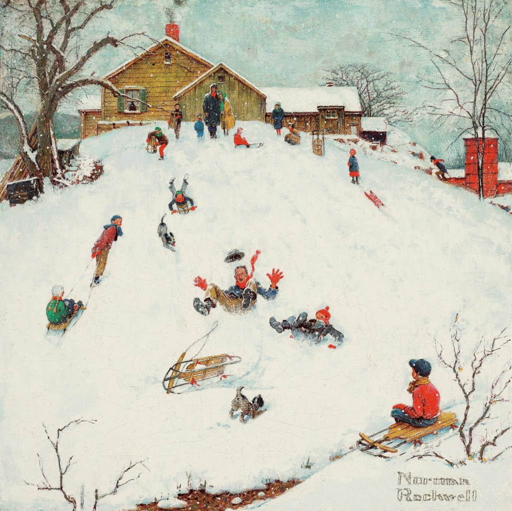 Norman Rockwell (1894-1978) Landscapes: Sledding