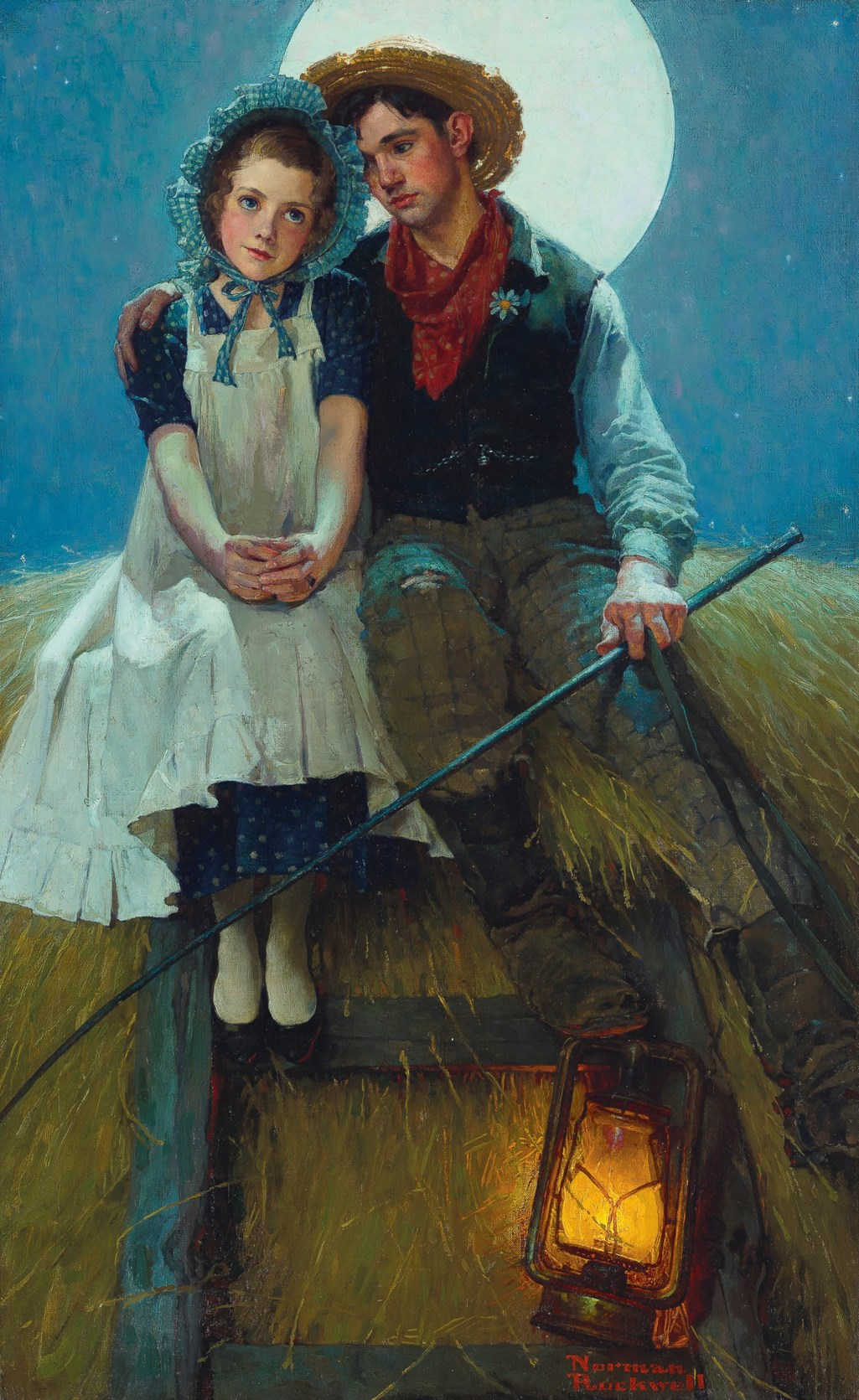 Norman Rockwell (1894-1978) Harvest Moon (Young Lovers on a Hay Rick)