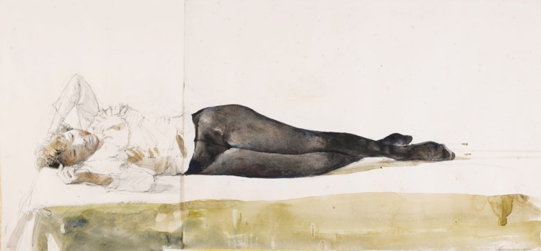 Andrew Wyeth (1917-2009), Study for Beauty Rest, 1991.Watercolour and pencil on joined paper. 18 x 36¼in (45.72 x 92.1 cm). Estimate $15,000-25,000. Offered in  American Art Online, 14-20 November 2019, online