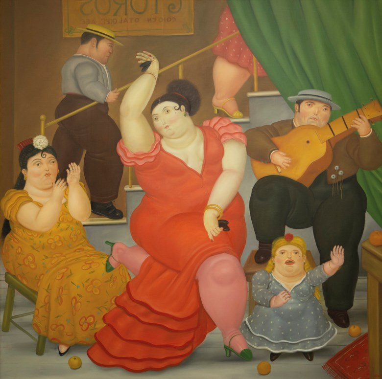 Fernando Botero (b. 1932), Tablao Flamenco, painted in 1984. Oil on canvas. 79¼ x 79¾ in (201.3 x 202.6 cm). Estimate $1,500,000-2,000,000. Offered in Latin American Art on 20-21 November 2019 at Christie's in New York. Artwork © Fernando Botero, reproduced by permission