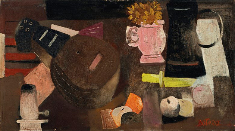 Fernando Botero (b. 1932), Bodegón Con Mandolina, painted circa 1957-58. 16⅞ x 30⅛  in (42.8 x 76.5  cm). Estimate $60,000-80,000. Offered in Latin American Art on 20-21 November 2019 at Christie's in New York Artwork © Fernando Botero, reproduced by permission