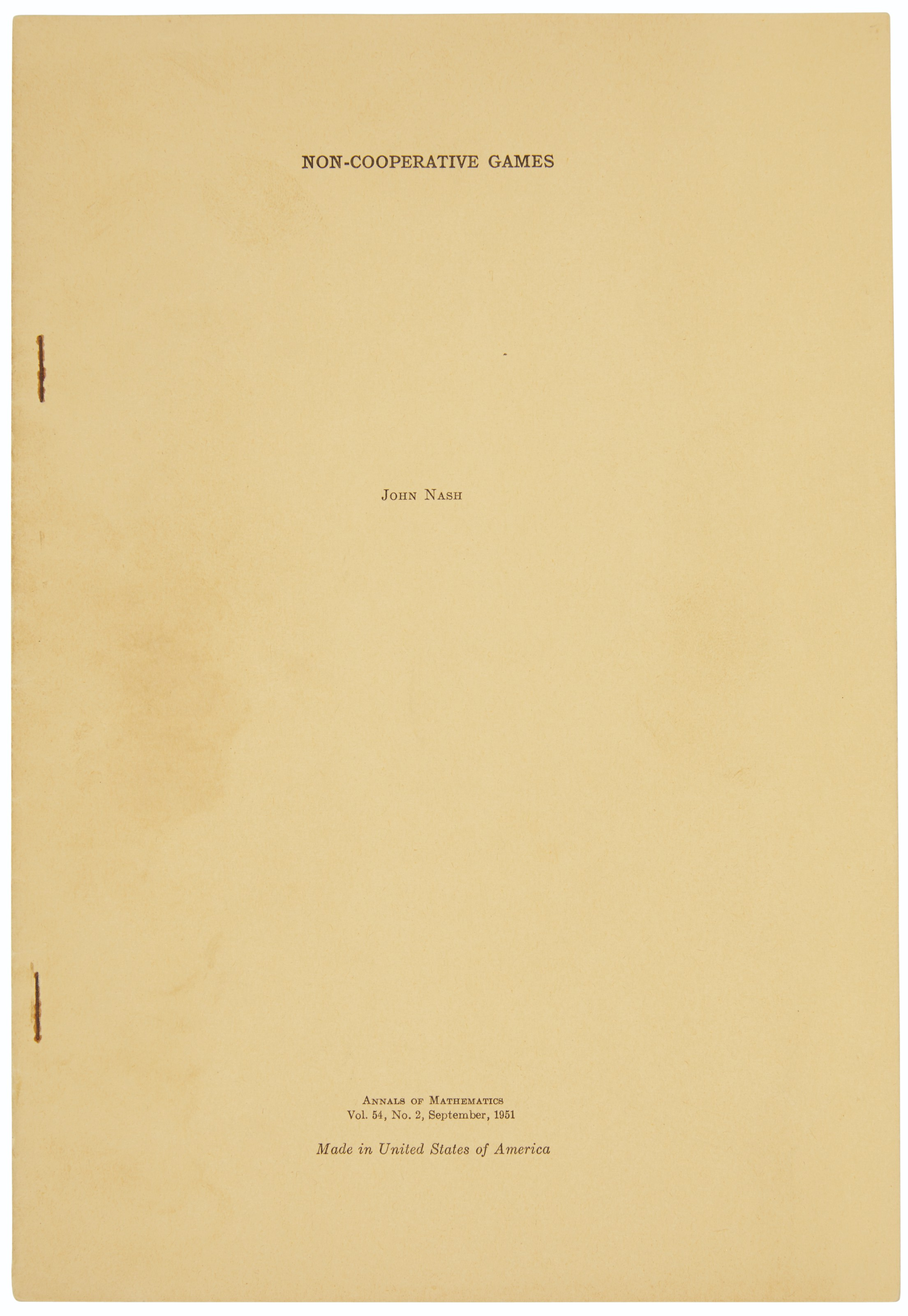 Nash's doctoral thesis