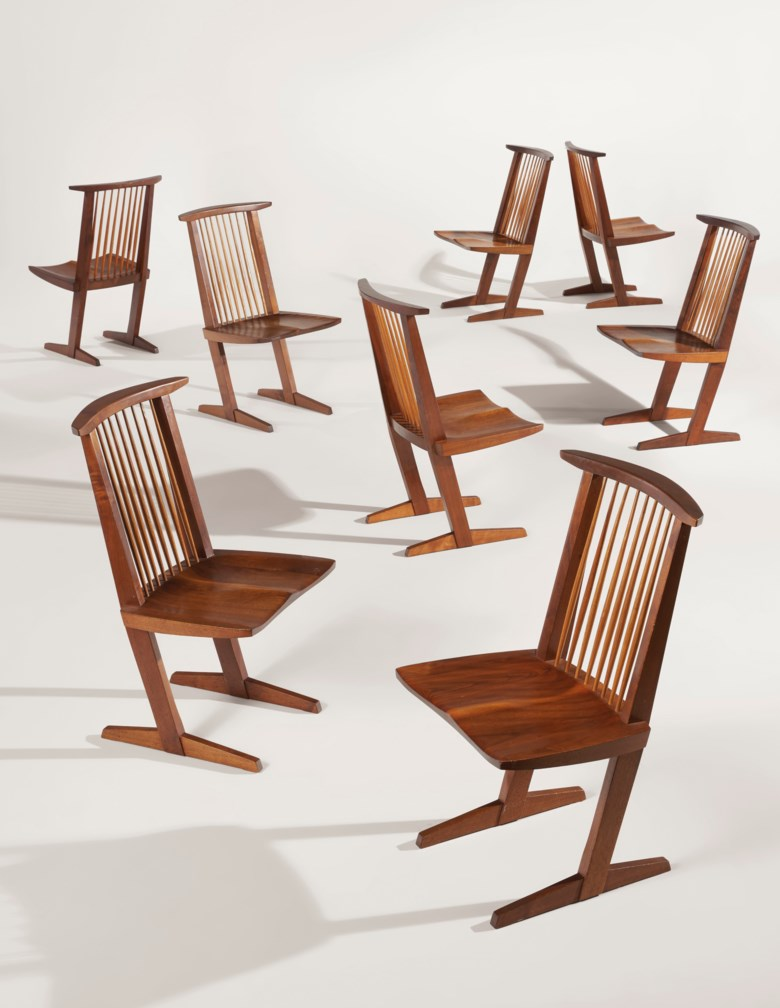 George Nakashima (1905-1990), Set of eight 'Conoid' chairs, 1968. Each 35½ in (90.1 cm) high; 20 in (50.8 cm) wide; 21½ in (54.6 cm) deep. Estimate $25,000-35,000. Offered in Design on 13 December 2019 at Christie's in New York