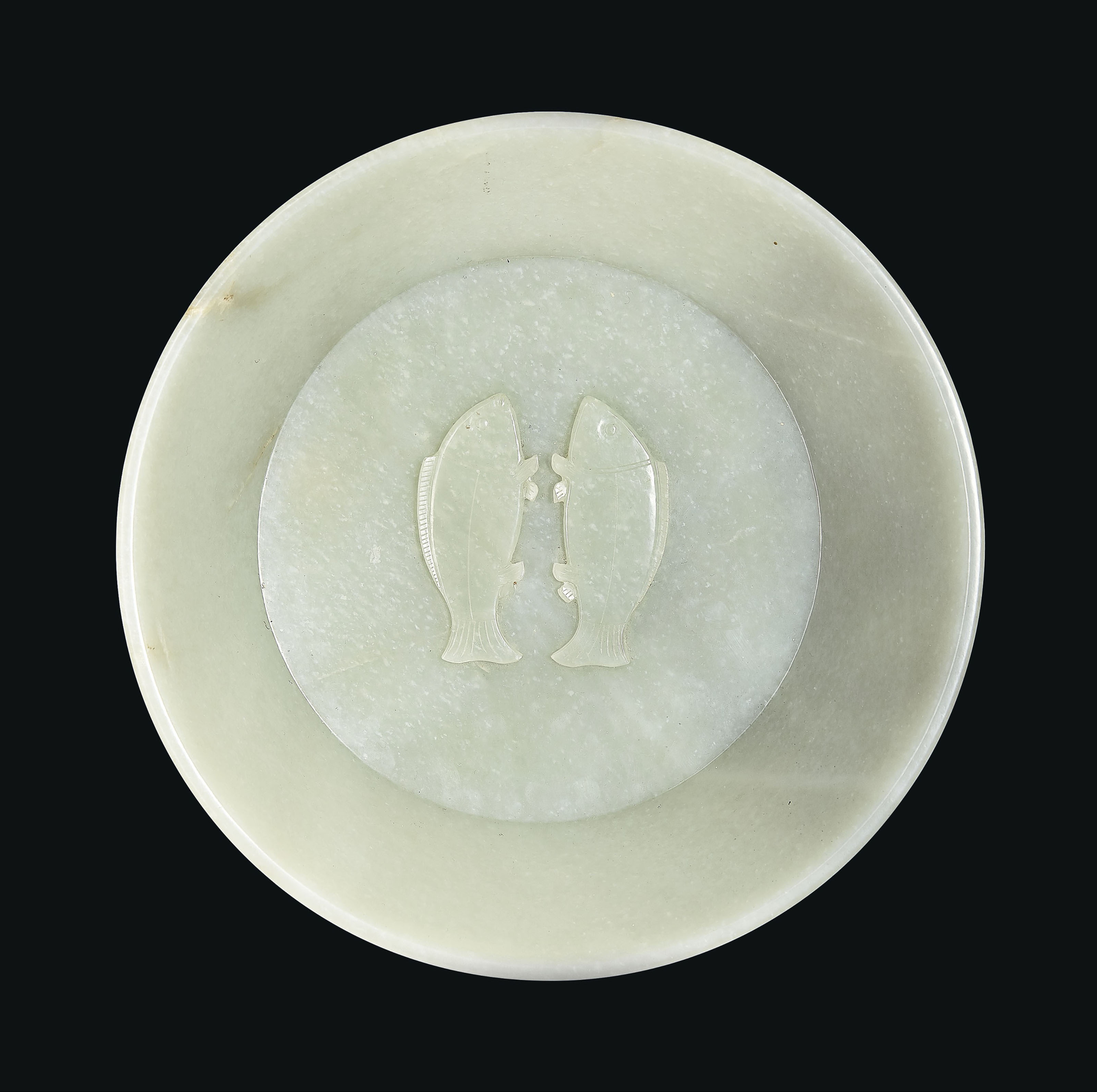 """AN IMPORTANT AND EXTREMELY RARE IMPERIALLY INSCRIBED GREENISH-WHITE JADE """"TWIN FISH"""" WASHER"""