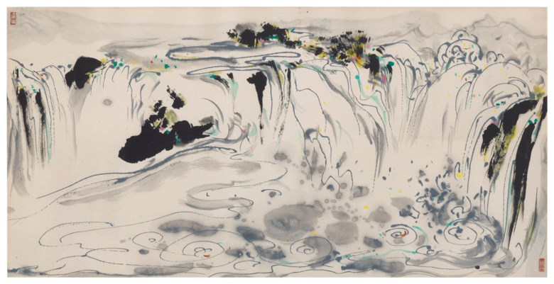Wu Guanzhong (China, 1919-2010), Waterfall. Scroll, mounted and framed, ink and colour on paper. 27 x 53⅜  in (68.5 x 135.5  cm). Sold for $975,000on 20 March 2019 at Christie's in New York