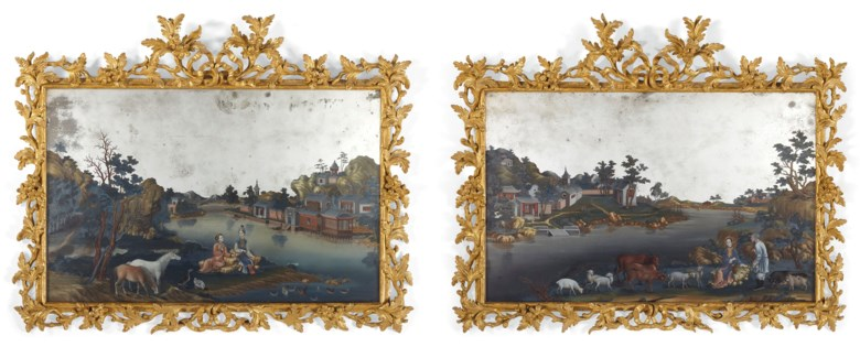 A pair of Chinese export reverse mirror paintings, Qing dynasty, third quarter 18th century. 27 in (68.5 cm) high, 33 in (84  cm) wide, each. Estimate $50,000-80,000. Offered in Lacquer, Jade, Bronze, Ink The Irving Collection Evening Sale on 20 March 2019 at Christie's in New York