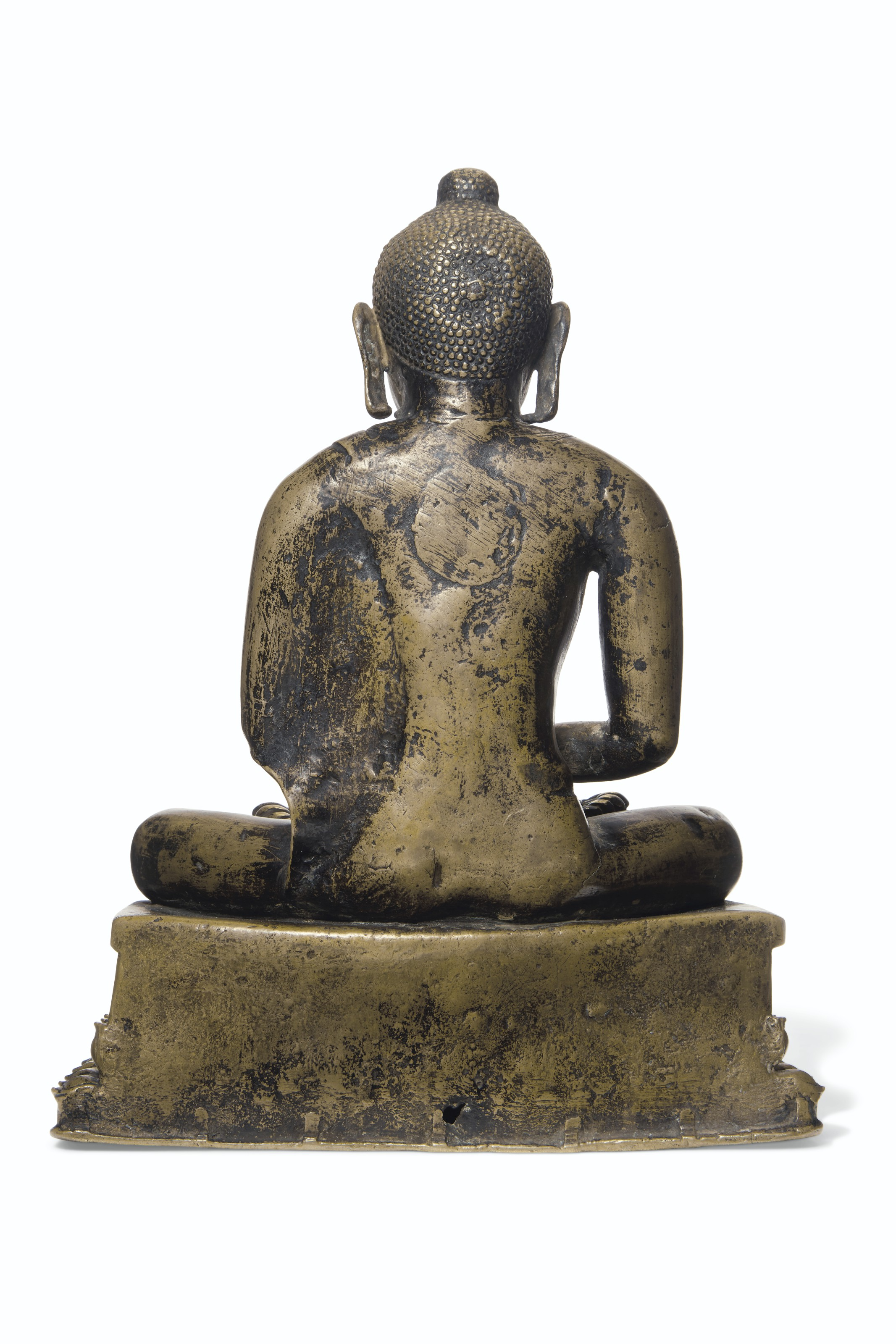 A SILVER- AND COPPER-INLAID BRONZE FIGURE OF A BUDDHA
