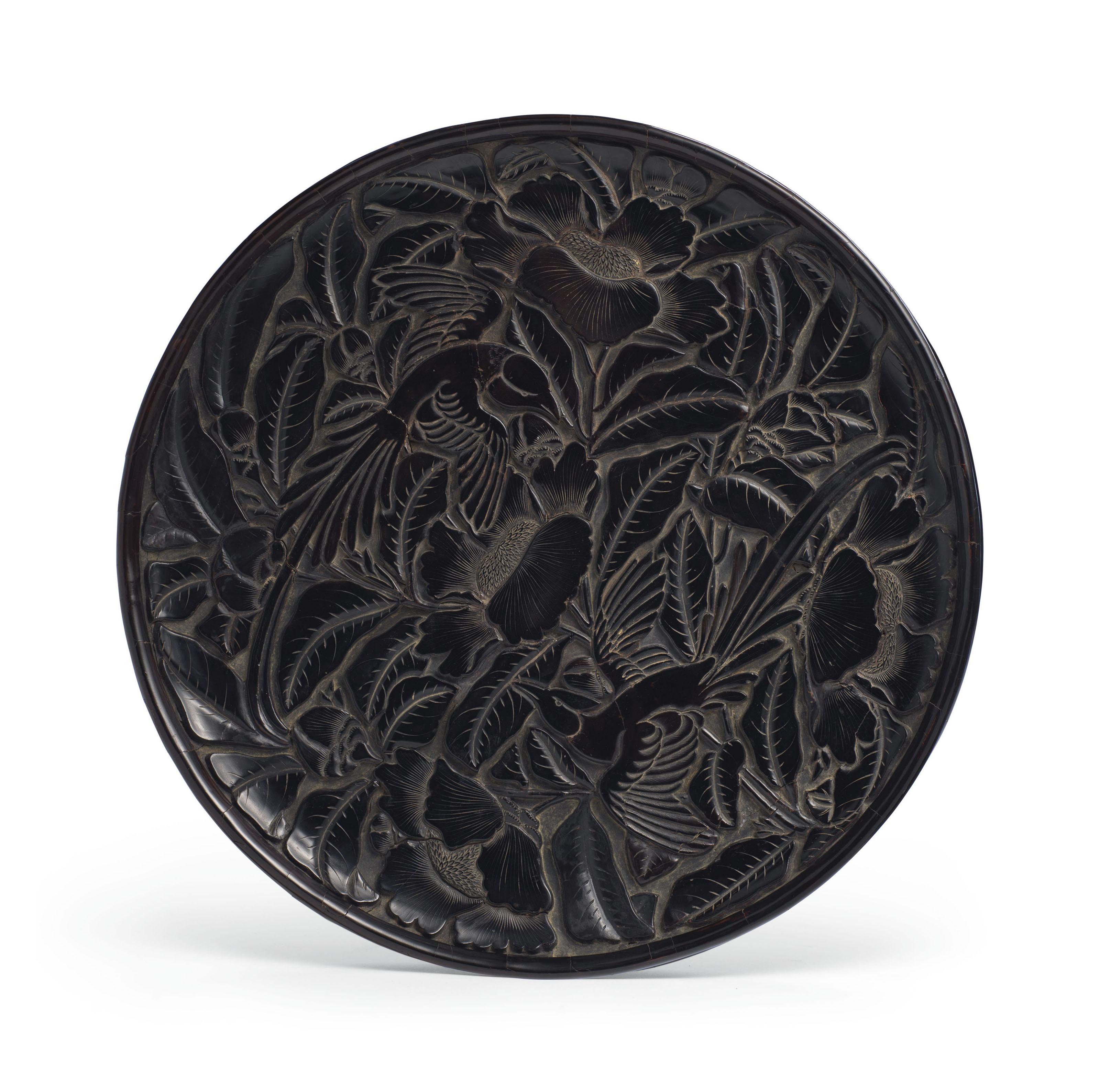 China antique bronze QianLong Guanyin Boy fairy character circular plate