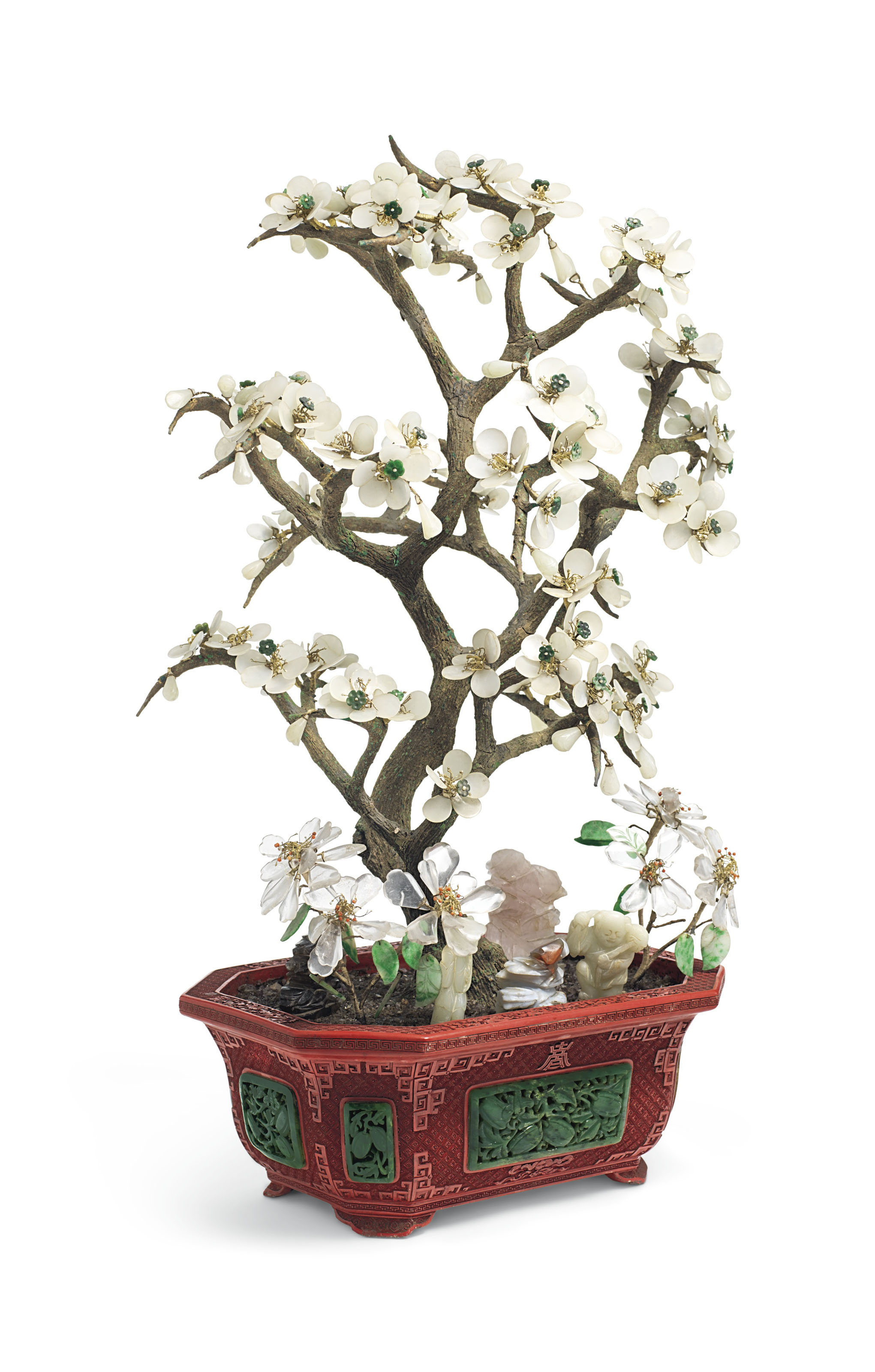 AN EMBELLISHED HARDSTONE MODEL OF A TREE IN A SPINACH-GREEN JADE-INSET...