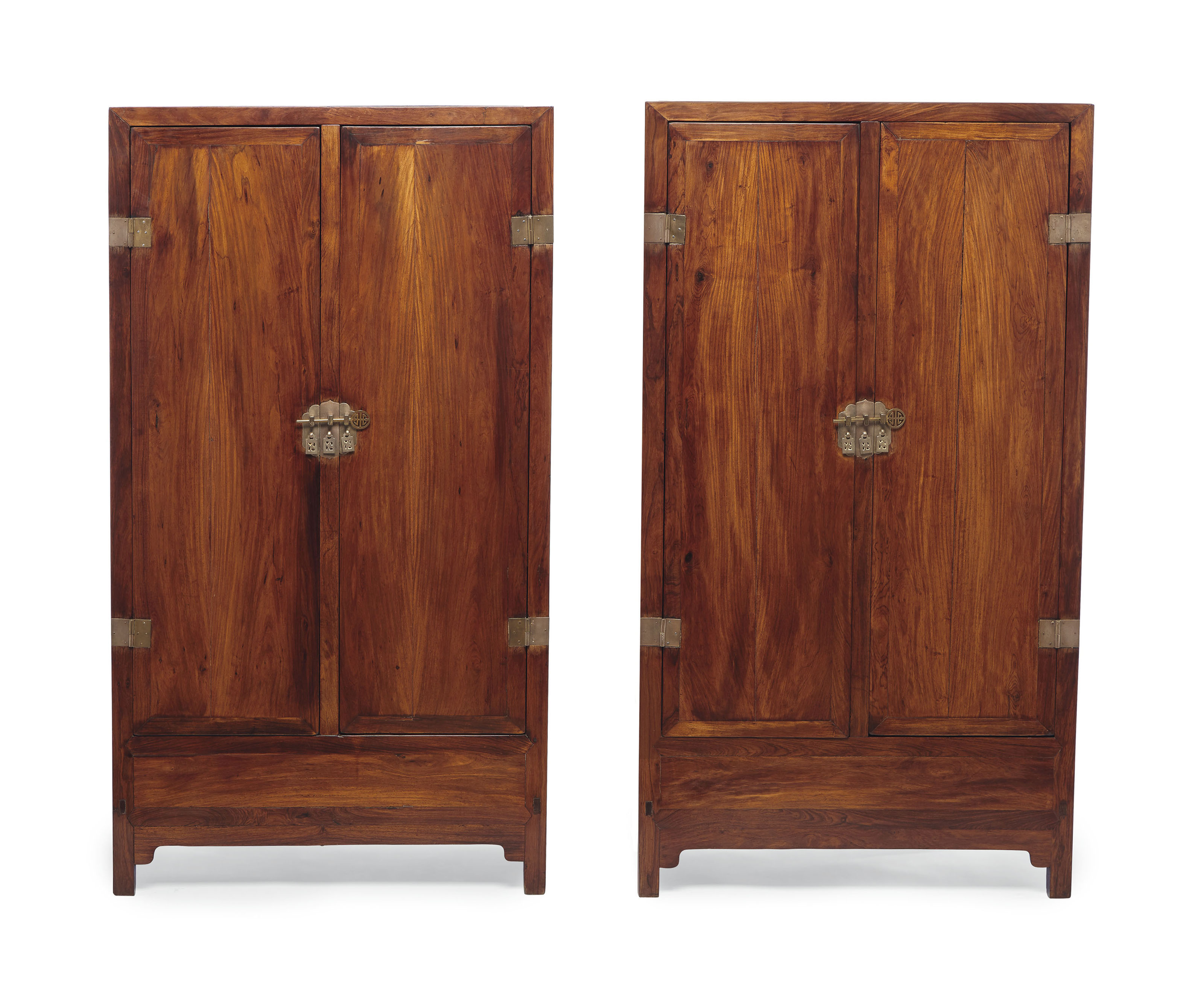 AN UNUSUAL PAIR OF HUANGHUALI SQUARE-CORNER CABINETS
