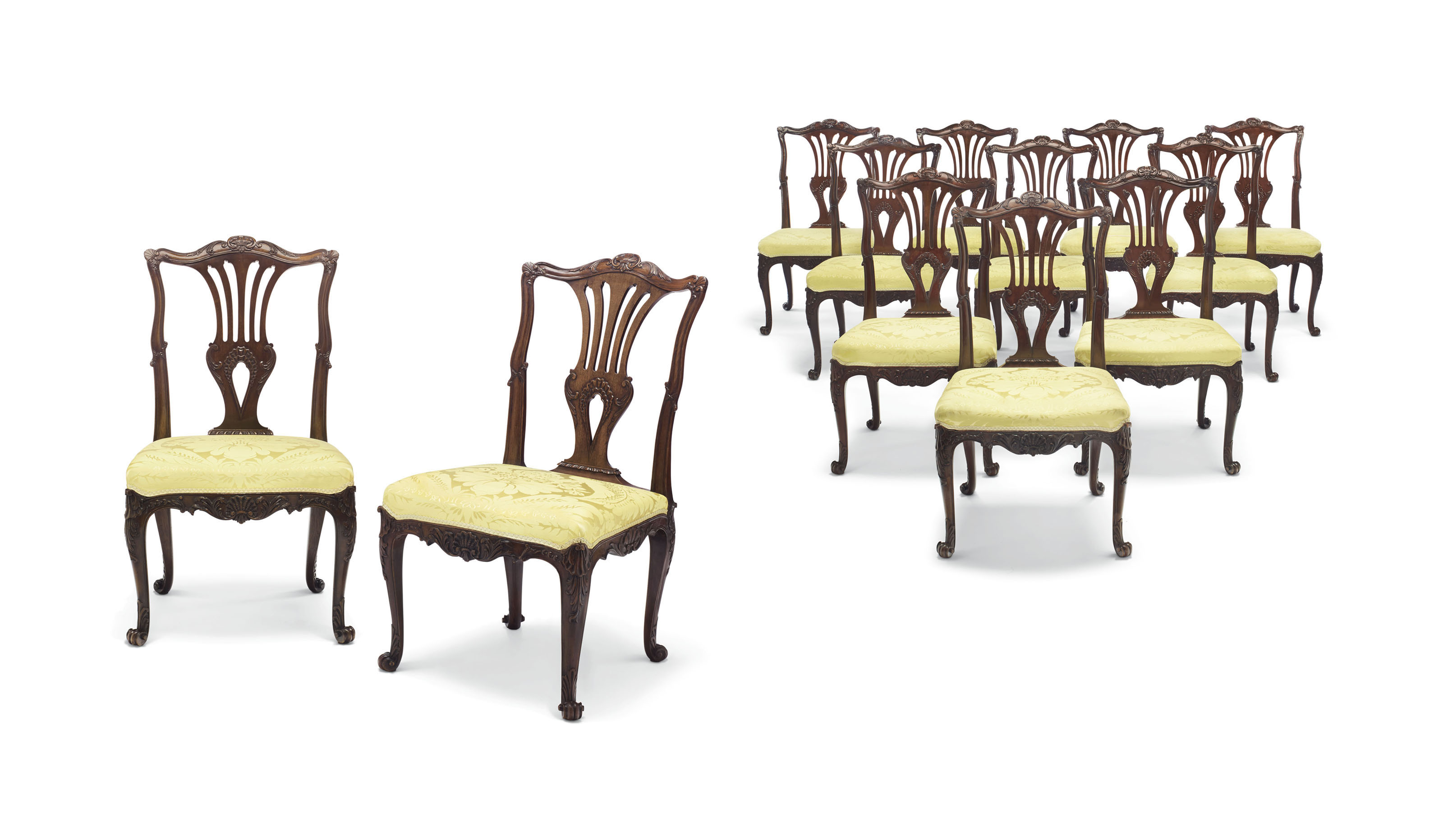 A SET OF EIGHT GEORGE III SOLID MAHOGANY DINING CHAIRS