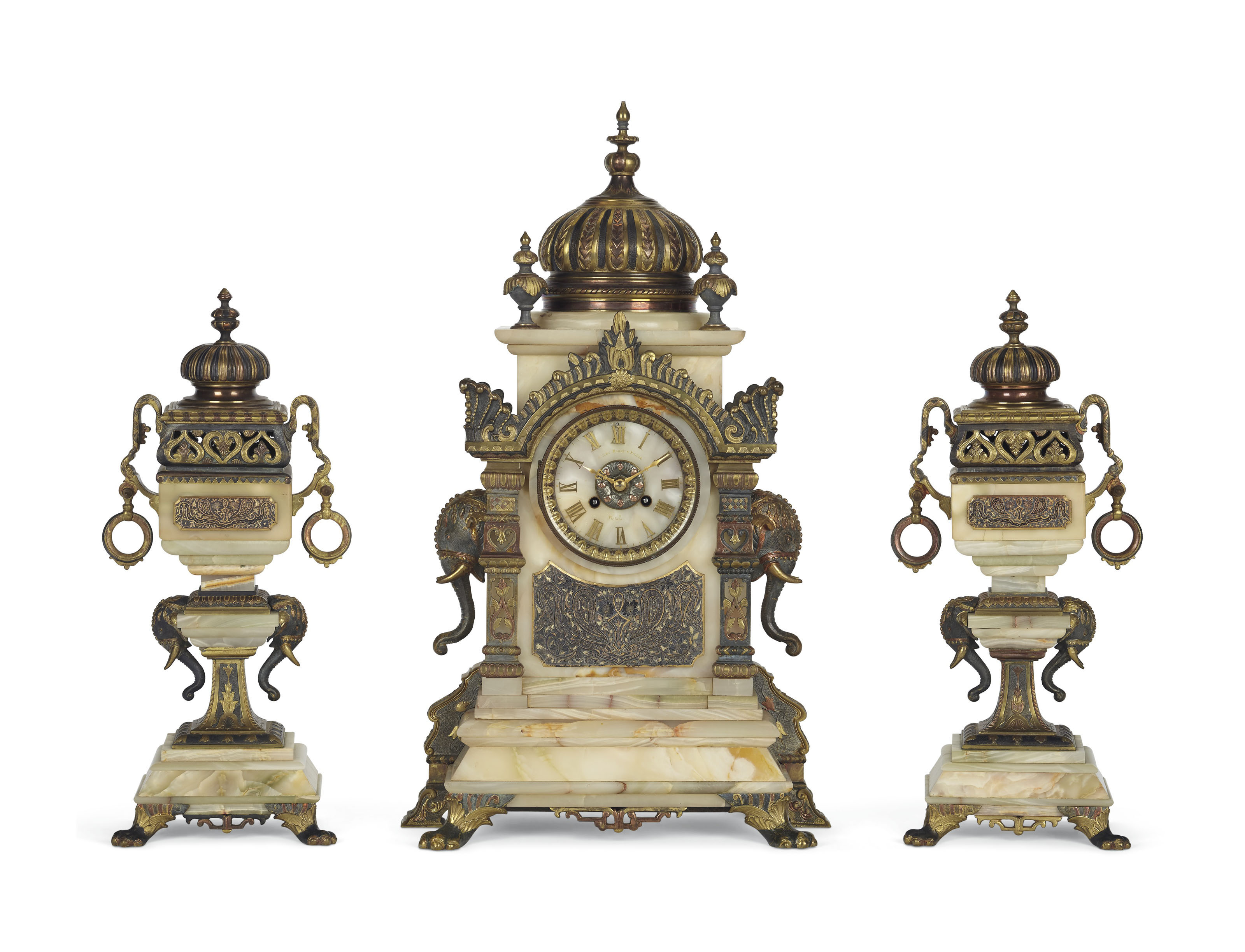 A French Ormolu Patinated Bronze And Onyx Three Piece Clock Garniture Retailed By Bailey Banks Biddle Philadelphia Late 19th Century Animal Furniture Lighting Christie S