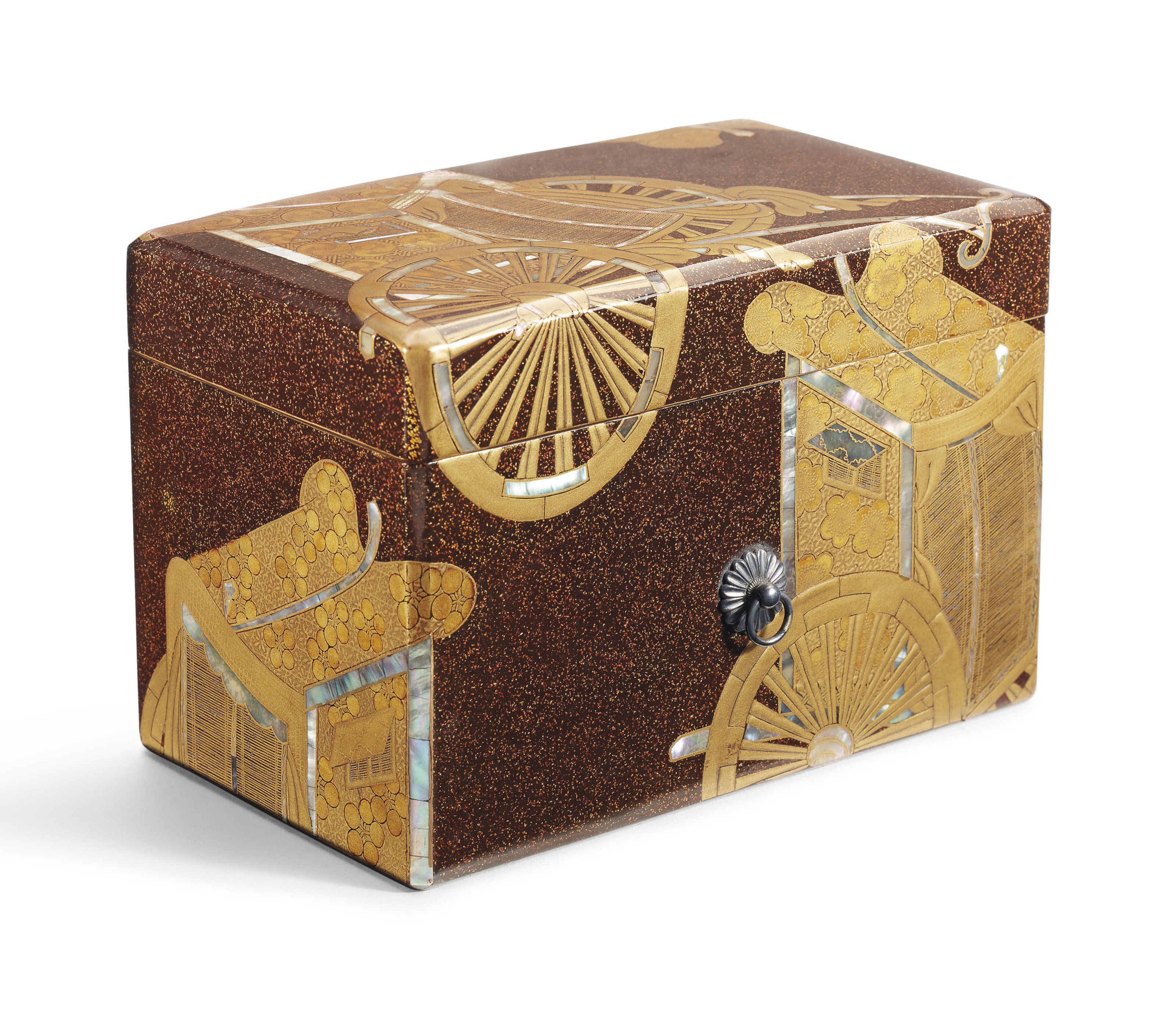 A GILT AND BROWN LACQUER BOX AND COVER