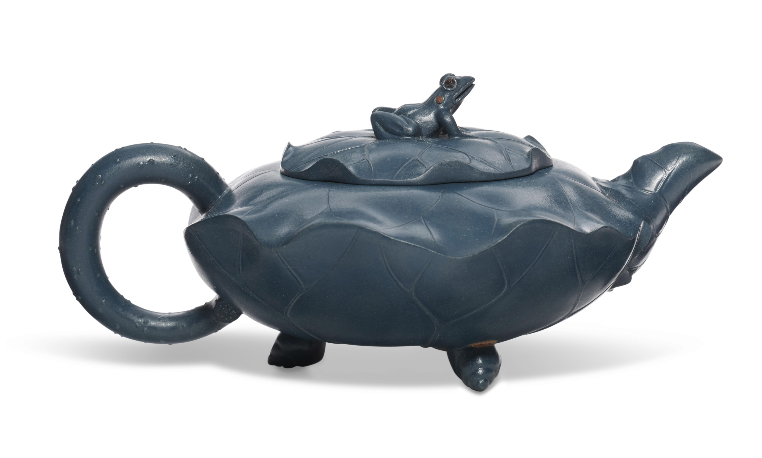 A BLUE LOTUS LEAF-FORM YIXING TEAPOT AND COVER, 'GREEN LOTUS FROG'