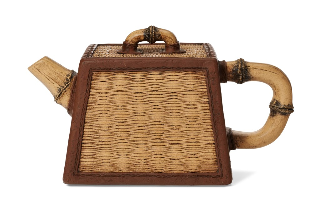 A BASKET-FORM YIXING TEAPOT AND COVER, 'WICKER BASKET WITH BAMBOO'