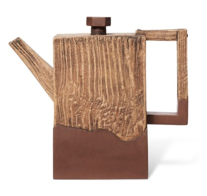 A FAUX WOOD YIXING TEAPOT AND COVER, 'PURE AND NATURAL'