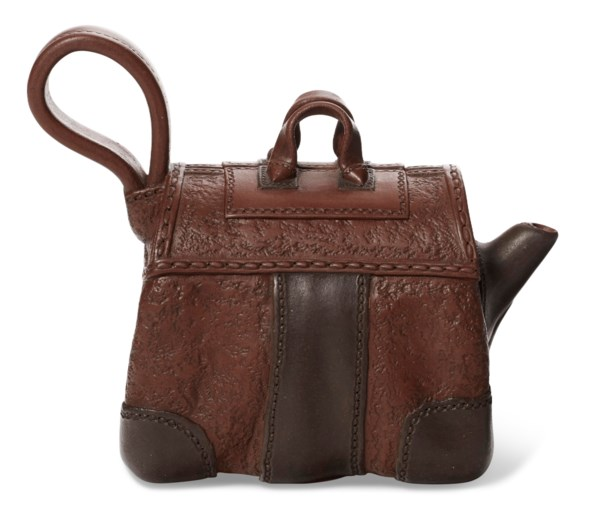 A SMALL BAGGAGE-FORM YIXING TEAPOT AND COVER, 'SMALL SUITCASE'