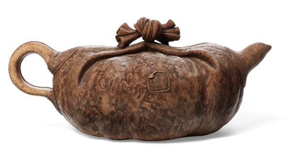 A LARGE COMPRESSED SACK-FORM YIXING TEAPOT AND COVER, 'LARGE BUNDLE'