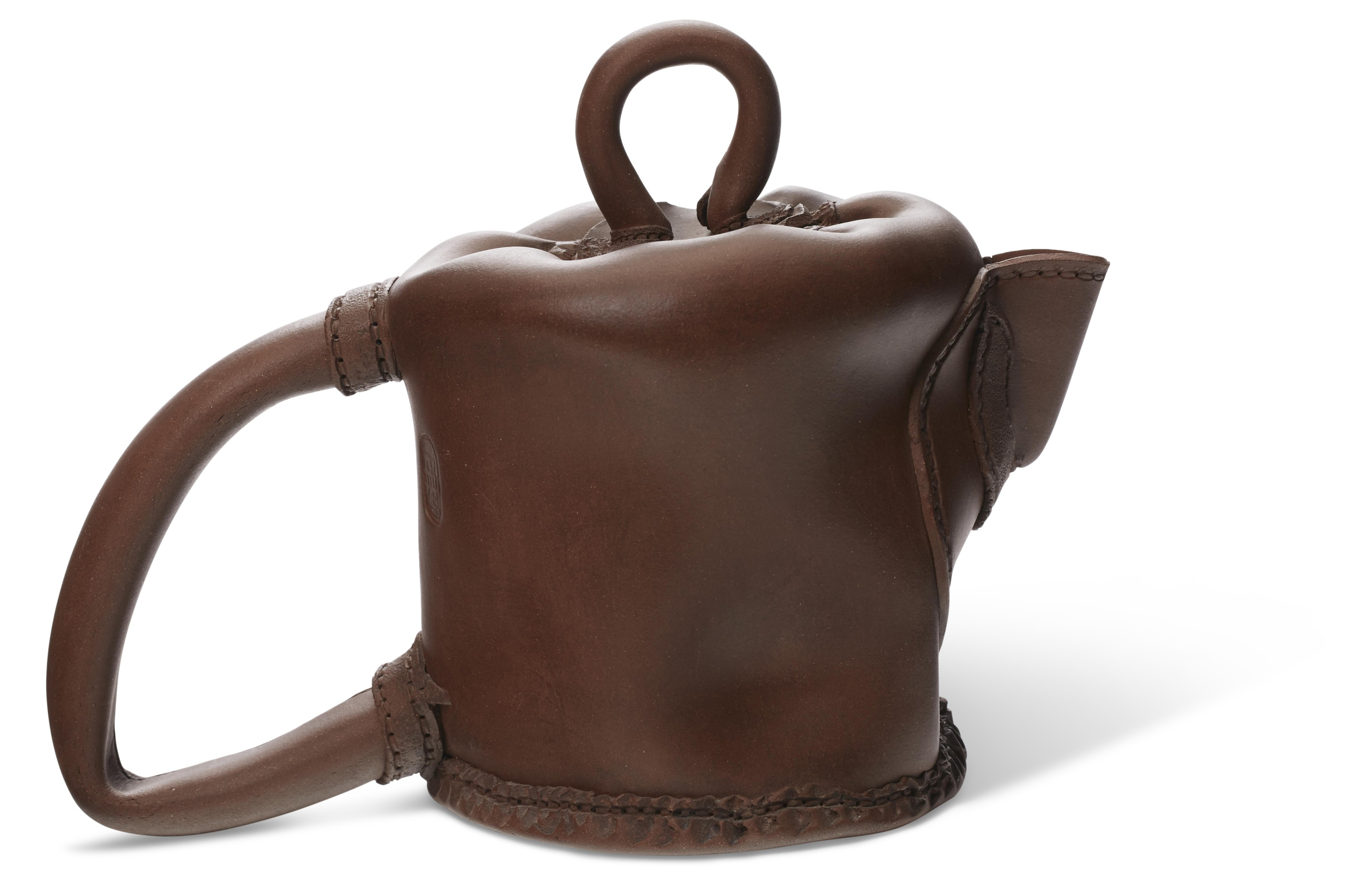A LARGE YIXING TEAPOT AND COVER IMITATING A SEWN LEATHER POUCH, 'LOOP BAG'