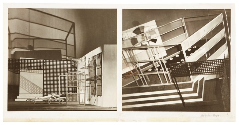 Lucia Moholy (1894–1989), Stage set for László Maholy-Nagy's Tales of Hoffman, Berlin, 1929. Mount 11⅞ x 23¼  in (29.6 x 50.9  cm). Estimate $20,000-30,000. Offered in The Face of the Century Photographs from a Private Collection on 2 April 2019 at Christie's in New York