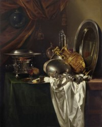 A chafing dish, two pilgrims' canteens, a silver-gilt ewer, a plate and other tableware on a partially draped table