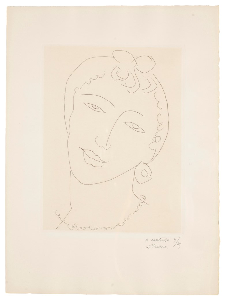 Henri Matisse (1869-1954), Martiniquaise one plate. Sheet 15 x 11⅛ in (381 x 283 mm). Estimate $6,000-8,000. Offered in Matisse on Paper Prints and Drawings from the Estate of Jacquelyn Miller Matisse, 21 February to 1 March 2019, Online
