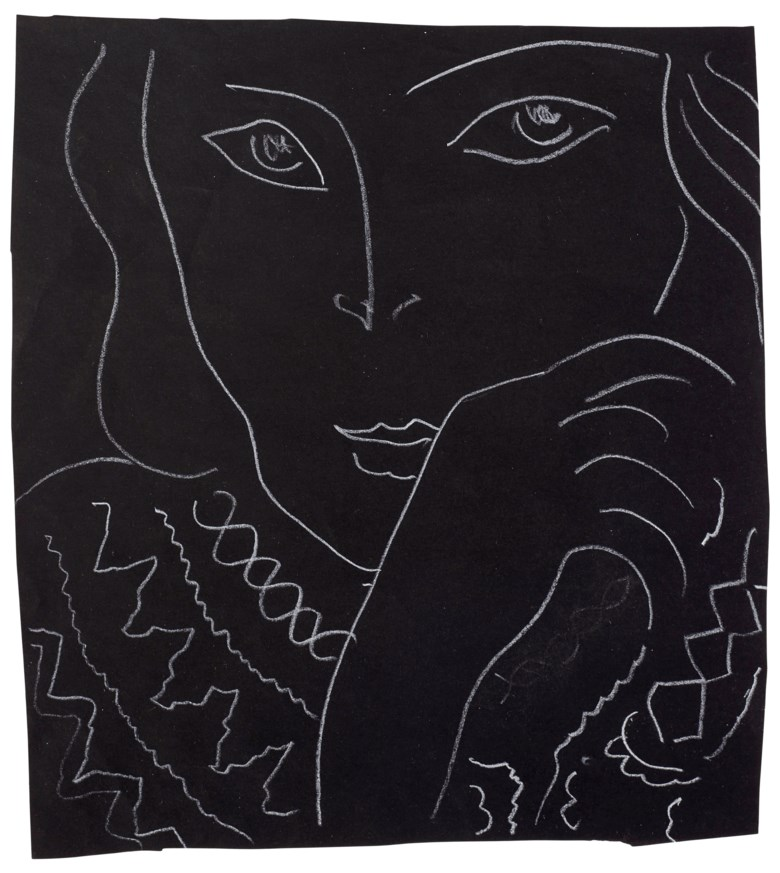 Henri Matisse (1869-1954), Tête, drawn in 1936. 9⅜ x 8¼ in (23.8 x 21 cm). Estimate $30,000-50,000. Offered in Matisse on Paper Prints and Drawings from the Estate of Jacquelyn Miller Matisse, 21 February to 1 March 2019, Online