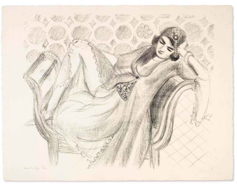 Henri Matisse (1869-1954), Repos sur la banquette. Sheet 19¾ x 25⅞ in (502 x 657 mm). Estimate $20,000-30,000. Offered in Matisse on Paper Prints and Drawings from the Estate of Jacquelyn Miller Matisse, 21 February to 1 March 2019, Online