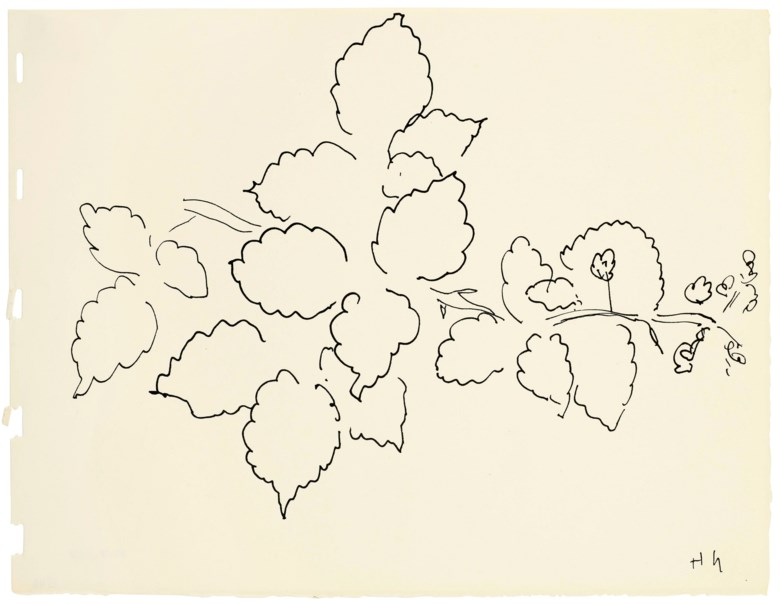 Henri Matisse (1869-1954), Feuilles et fleurs, drawn in 1941. 8 x 10½ in (20.3 x 26.6 cm). Estimate $12,000-18,000. Offered in Matisse on Paper Prints and Drawings from the Estate of Jacquelyn Miller Matisse, 21 February to 1 March 2019, Online