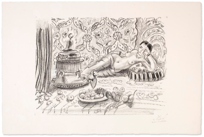 Henri Matisse (1869-1954), Odalisque, brasero et coupe de fruits. Sheet 14⅞ x 22⅜ in (378 x 568 mm). Estimate $15,000-25,000. Offered in Matisse on Paper Prints and Drawings from the Estate of Jacquelyn Miller Matisse, 21 February to 1 March 2019, Online