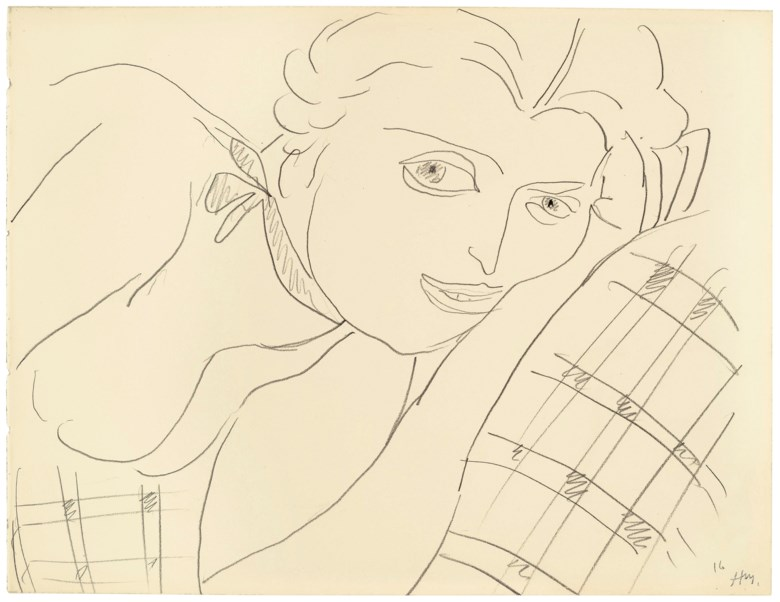 Henri Matisse (1869-1954), Femme au repos (Lydia), drawn in 1935. 9¾ x 12¾ in (24.8 x 32.3 cm). Estimate $25,000-35,000. Offered in Matisse on Paper Prints and Drawings from the Estate of Jacquelyn Miller Matisse, 21 February to 1 March 2019, Online