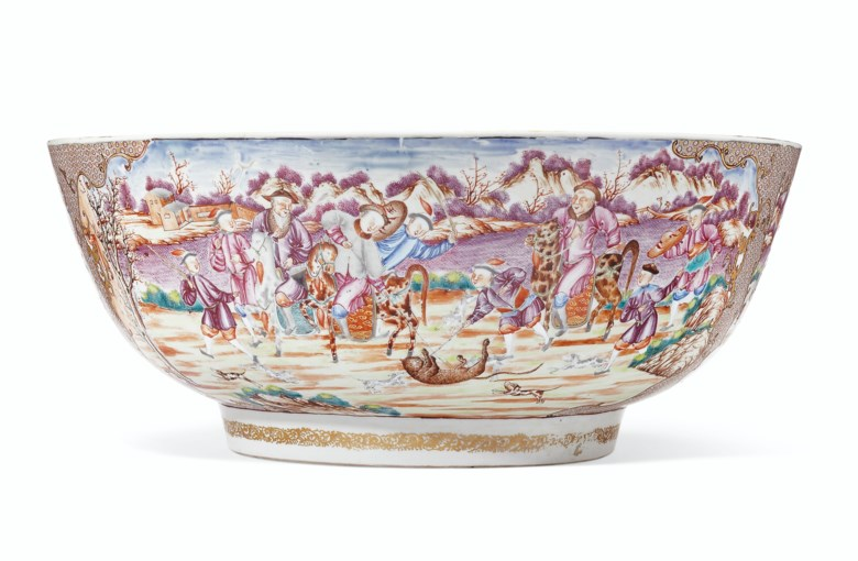 A rare large tiger and foxhunting bowl, Qianlong period, circa 1775. 16  in (40.6  cm) diameter. Sold for $40,000 on 10 April 2019 at Christie's in New York