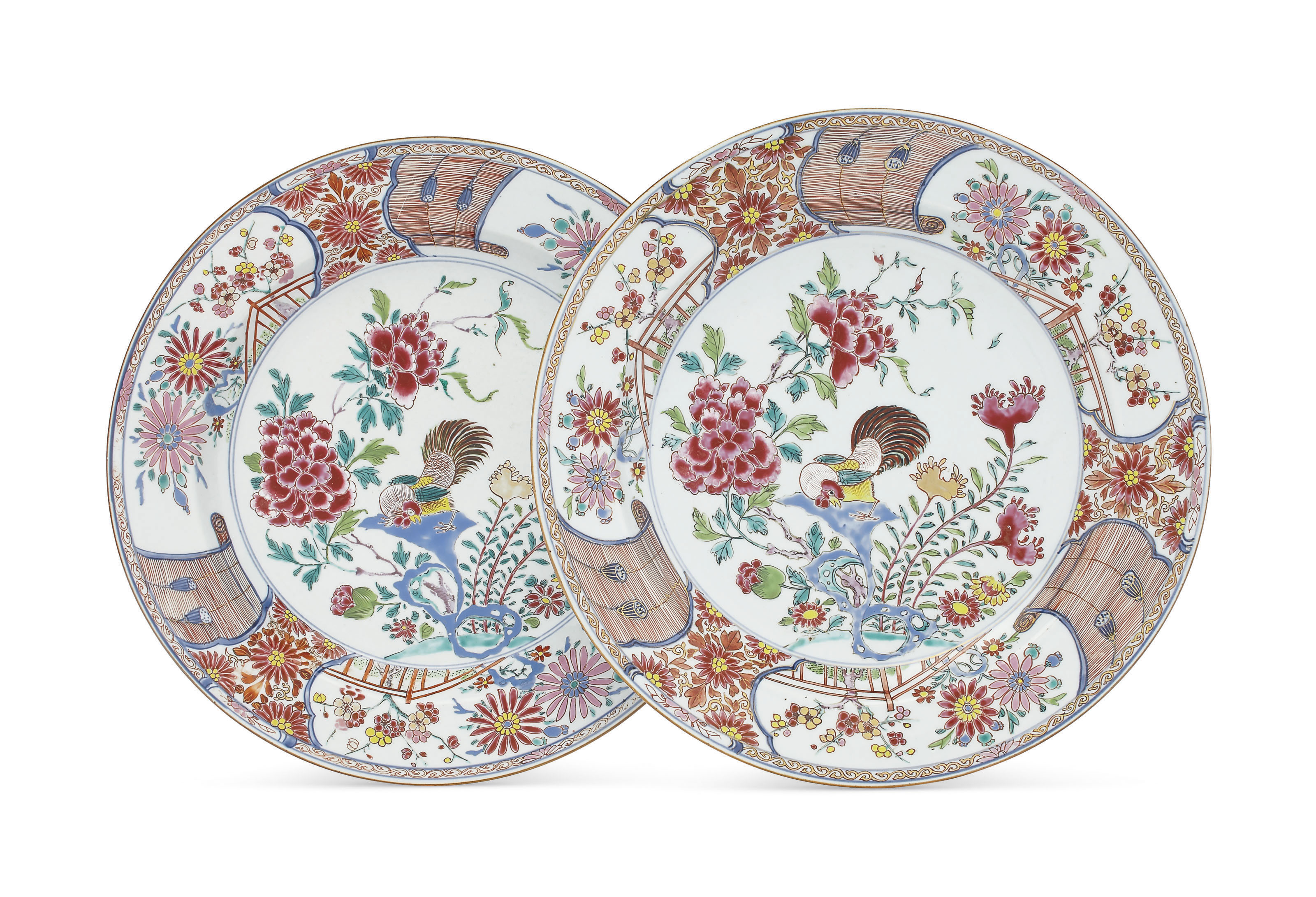 A LARGE PAIR OF FAMILLE ROSE CHARGERS
