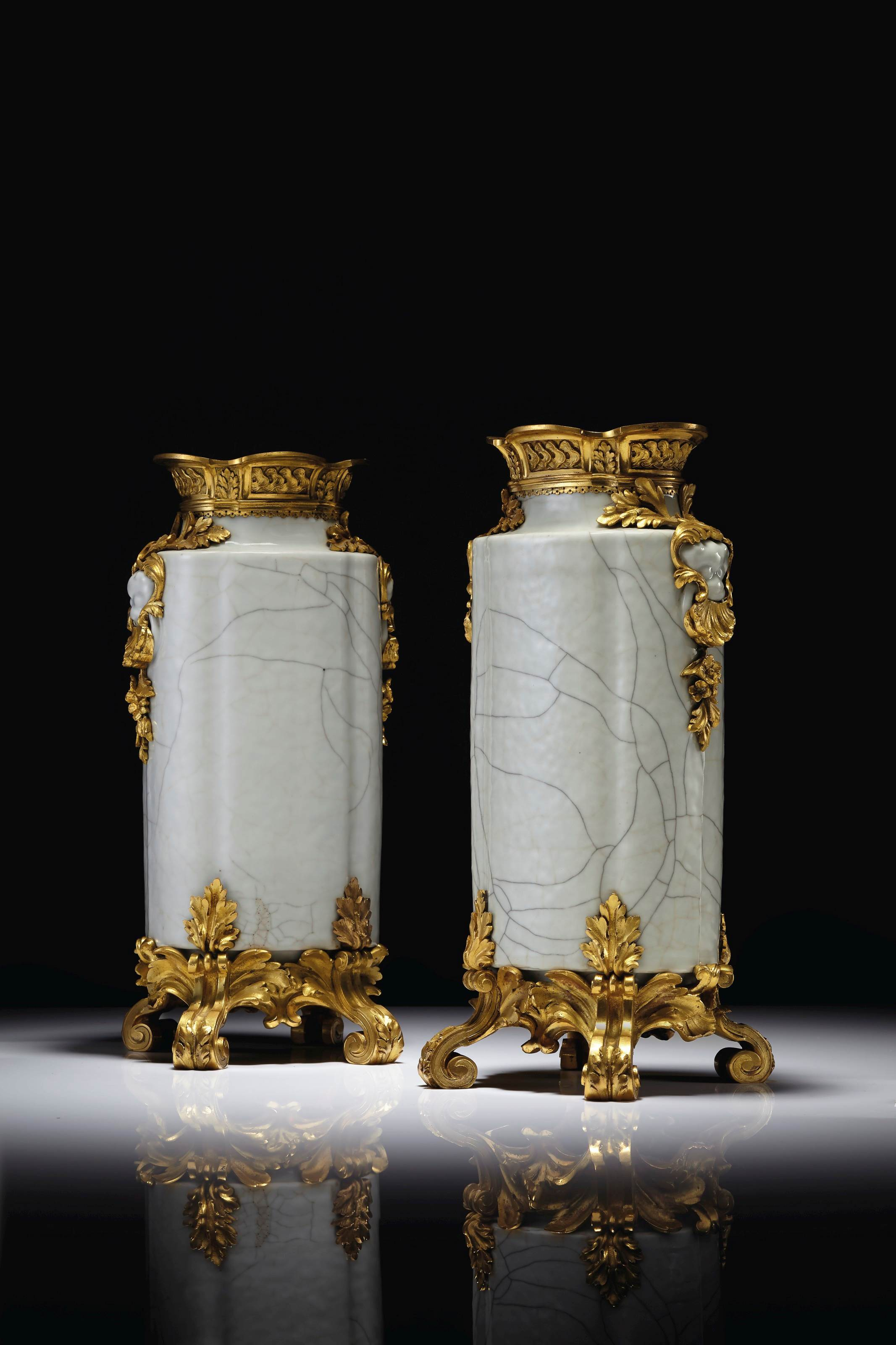 A PAIR OF LOUIS XV STYLE ORMOLU-MOUNTED ' GUAN'- TYPE CHINESE PORCELAIN VASES