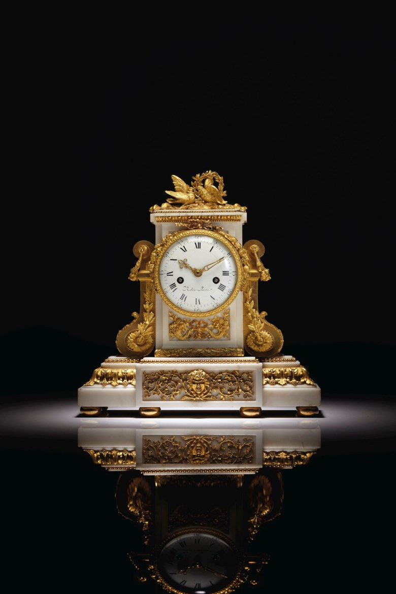 A Louis XVI ormolu-mounted white marble mantel clock, the case after a design by Francois Vion, circa 1785. 15 in (38.1 cm) high, 14¼ in (36.2 cm) wide, 6 in (15.2 cm) deep. Estimate $15,000-25,000. Offered in Fifth Avenue Grandeur Important French Furniture from the Collection of Lewis and Ali Sanders on 29 October 2019 at Christie's in New York
