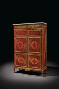 A LOUIS XVI ORMOLU-MOUNTED TULIPWOOD, AMARANTH AND MARQUETRY SECRETAIRE À ABATTANT AND ARMOIRE EN SUITE