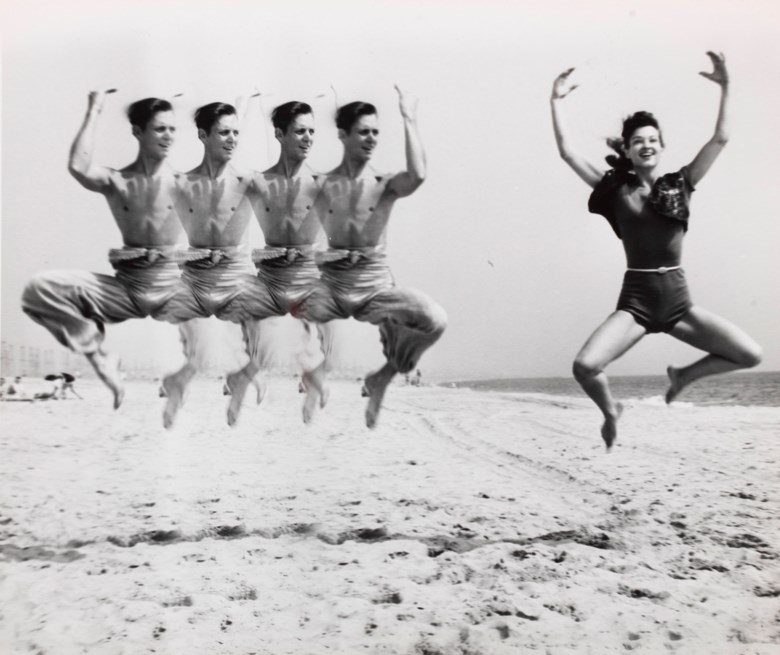 Weegee (1899–1968), Jumping on Beach, c. 1955. Sheet 8¼ x 10 in (20.8 x 25.4 cm). Sold for $12,500 on 7 May 2019, online