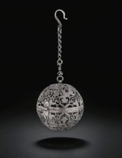 A RARE SILVER SPHERICAL CENSER