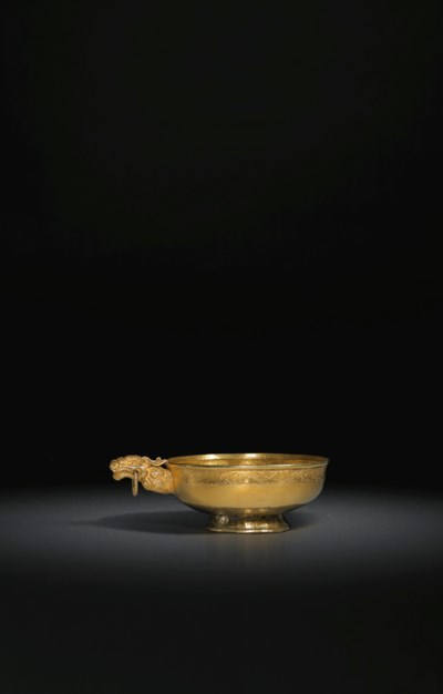 A VERY RARE GOLD 'DRAGON'-HANDLED CUP