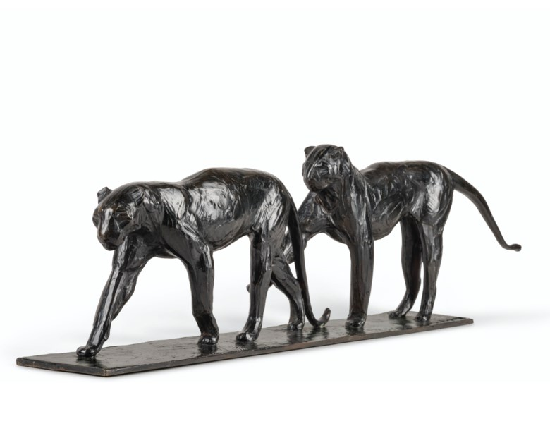 Rembrandt Bugatti (1884-1916), Deux léopards marchant, conceived circa 1912, cast by 1934. 9 x 35 x 4 ½  in (23 x 89 x 11.5  cm). Estimate $450,000-650,000. Offered in La Ménagerie on 12 November 2019 at Christie's in New York