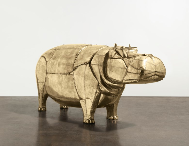 François-Xavier Lalanne (1927-2008), Unique 'Hippopotame I' bathtub, conceived in 1968, executed in 1969; this work is unique. Welded brass and copper. 50½ x 114 x 33  in (128.3 x 289.6 x 83.8  cm), closed. Sold for $4,335,000 on 12 November 2019 at Christie's in New York