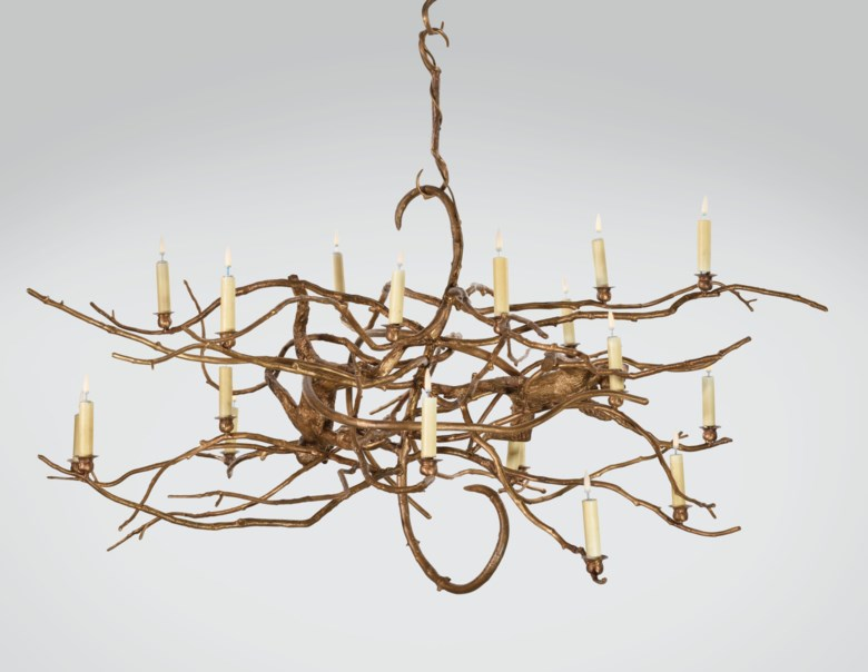 Claude Lalanne (1924-2019), unique Structure végétale avec singes chandelier, executed in 2012. Width 65  in (167  cm). Estimate $400,000-600,000. Offered in La Ménagerie on 12 November 2019 at Christie's in New York