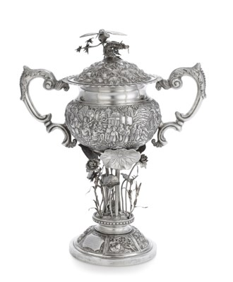 A CHINESE EXPORT SILVER TWO-HANDLED PRESENTATION CUP AND COVER