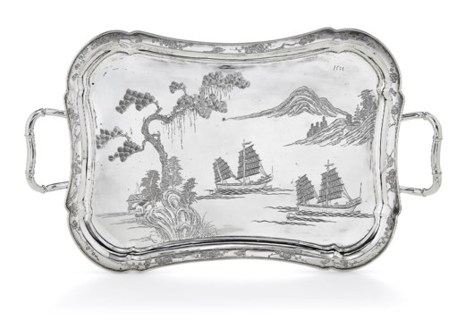 A CHINESE EXPORT SILVER TWO-HANDLED TRAY