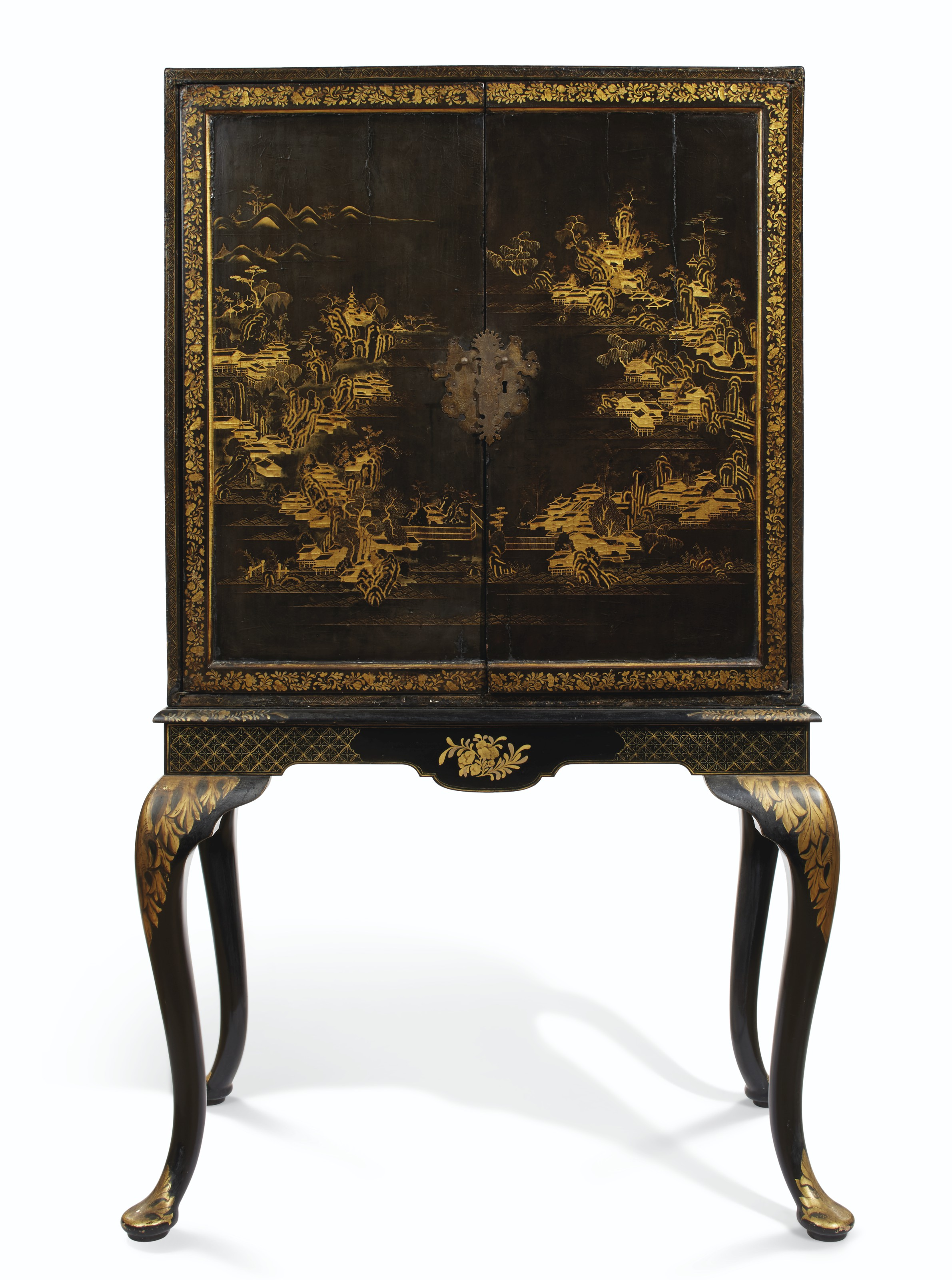 A CHINESE EXPORT BLACK AND GILT-LACQUER CABINET ON STAND